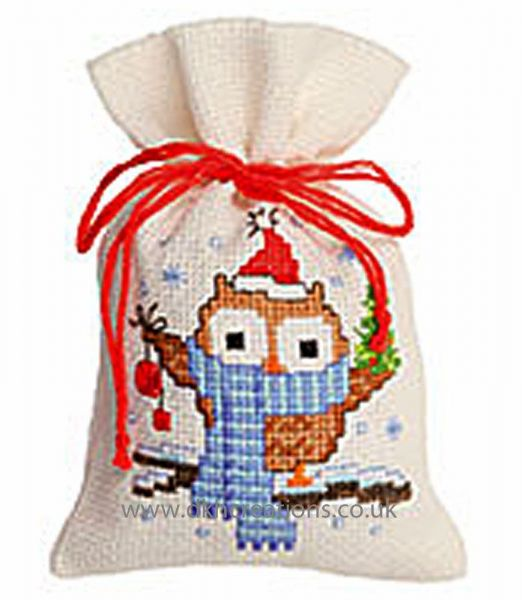 Owlet With A Scarf Pot Pourri Bag Cross Stitch Kit